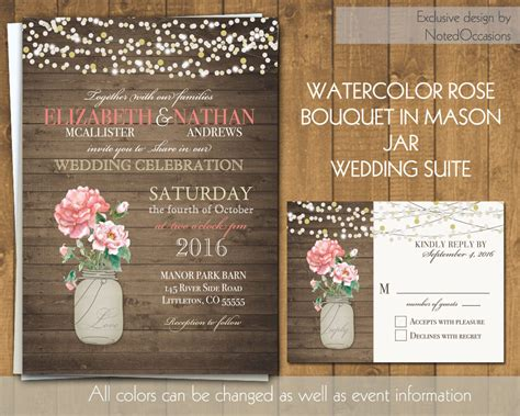rustic wedding invitation jar wedding by notedoccasions