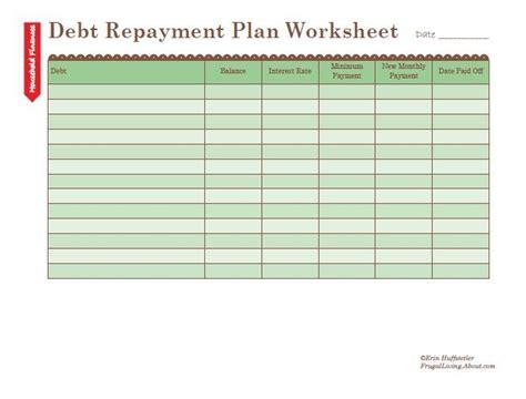 Debt Planner Spreadsheet by Debt Repayment Plan Worksheet Finance Budget