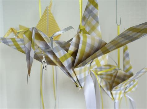 Origami Bird Decorations - large yellow and gray baby shower origami bird decorations