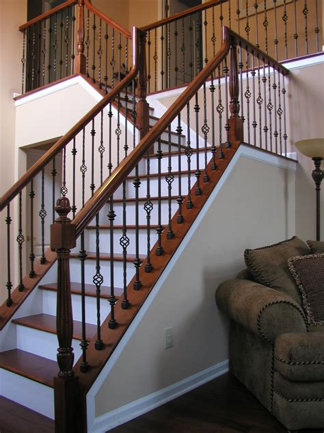 Wood Stair Railing Lomonaco S Iron Concepts Home Decor Iron Balusters