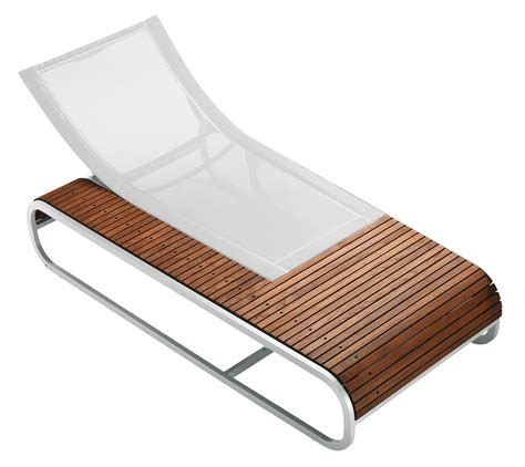chaise longue tandem version teck teck toile blanche ego