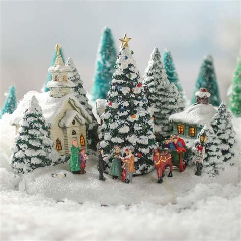 miniature sparkling christmas village scene table decor