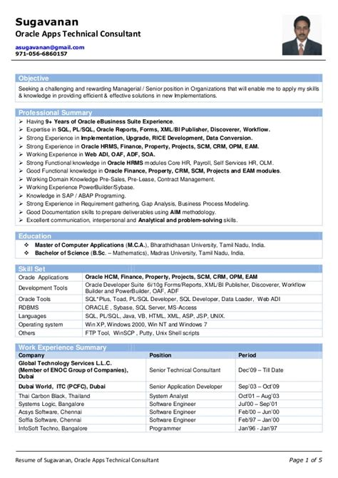 exle resume oracle functional consultant resume
