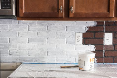 faux brick kitchen backsplash remodelaholic diy whitewashed faux brick backsplash