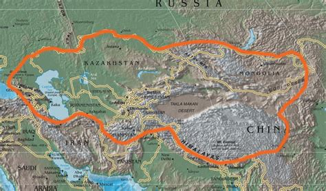 central asia physical map file central asia physical political cia png wikimedia