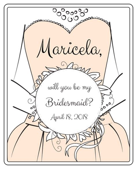 Quot Will You Be My Bridesmaid Quot Wine Bottle Labels Label Templates Ol475 Onlinelabels Com Will You Be My Best Template