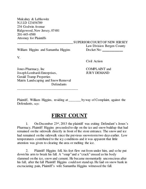 Personal Injury Complaint Negligence Complaint Letter Template