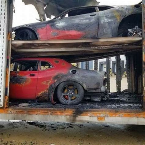 update: three dodge demons burn down in delivery truck