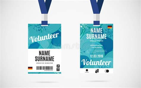Event Id Card Template by Event Volunteer Id Card Set Vector Design Illustration