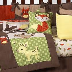 nature animal woodland themed green brown 9p baby boy crib