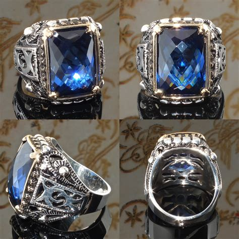 mens ring 925 sterling silver blue sapphire cz size us10