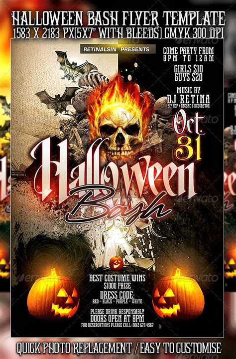 template flyer halloween halloween bash flyer template psd posters flyers