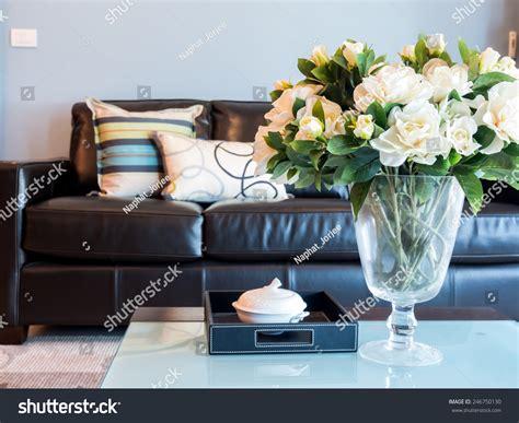 flower vase for living room modern living room interior design with artificial flower vase stock photo 246750130
