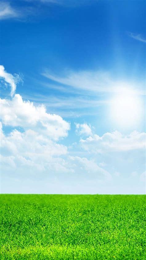 nature green land  blue sky iphone  wallpaper