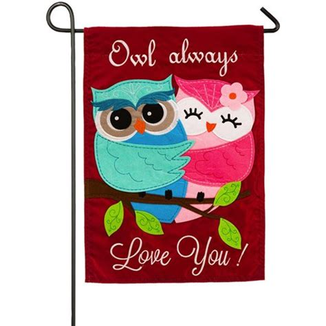 valentines garden flag owl always you valentines day garden flag