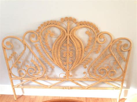Peacock Headboard by Vintage Rattan Peacock Headboard City