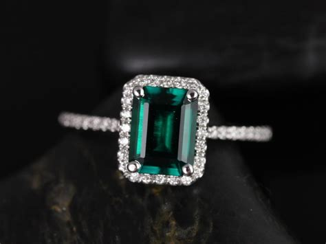 rosados box esmeralda 8x6mm white gold rectangle emerald