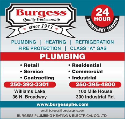 Bc Heating And Plumbing by Burgess Plumbing Heating Electrical Co Ltd Williams