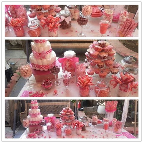 pink candy buffet i did for my cousins baby shower my