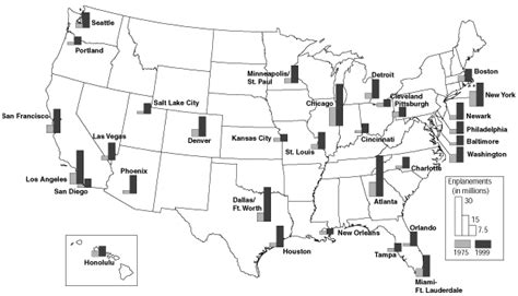 map us airports map enplanements at large air traffic hubs 1975 and