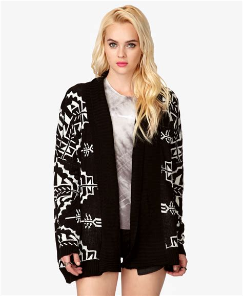 tribal pattern cardigan forever 21 forever 21 open knit tribal print cardigan in black lyst