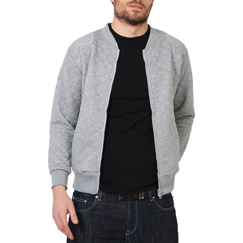 Jaket Cardigan Mens Quilted Zip Up Classic Bomber Jacket Sweatshirt Top
