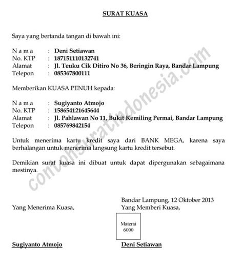 Surat Kuasa Menandatangani Tax Amnesty by Surat Kuasa Contoh Surat Indonesia