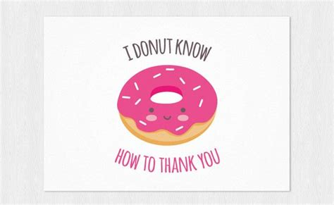 thank you card donut kawaii pdf diy printable a6 thank