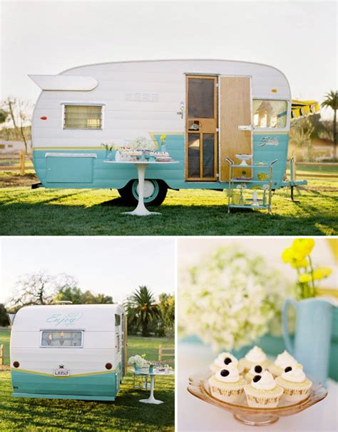 backyard wedding trailer vintage trailers airstreams for your wedding green