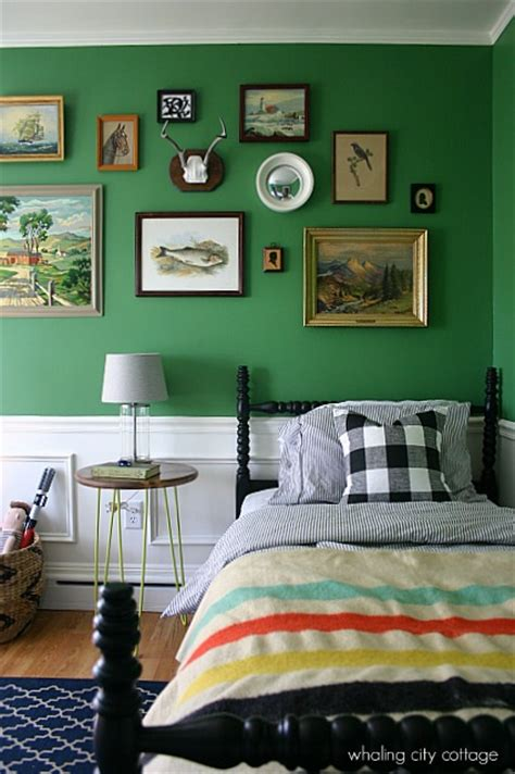 vintage styled boys room  green interiors  color