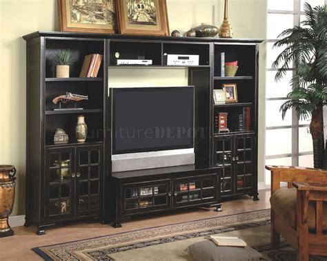 entertainment shelving units antique black finish wall entertainment unit w book shelves