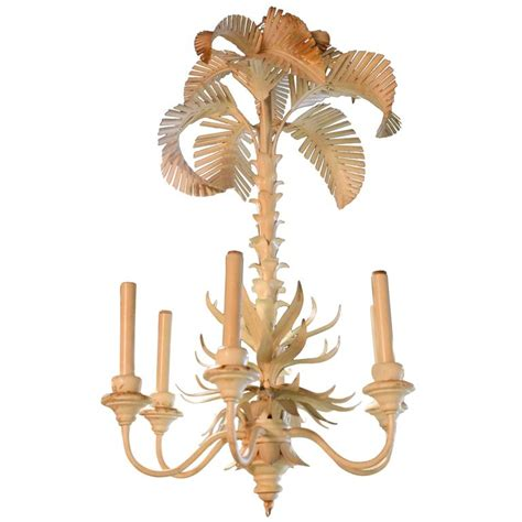 Palm Tree Chandelier Palm Tree Frond Chandelier Serge Roche Style Metal Tole Italian Palm For Sale At 1stdibs