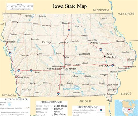 Iowa Search Iowa State Map A Large Detailed Map Of Iowa State Usa