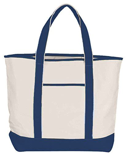 Outer Pocket Navy 22 quot large shopping tote cotton canvas with outer pocket navy blue luggage bags totes