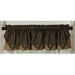 Sturbridge Black Curtains Sturbridge Plaid Button Valance Country Style Window