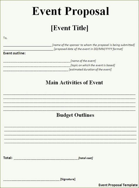 templates for events event proposal template word templates
