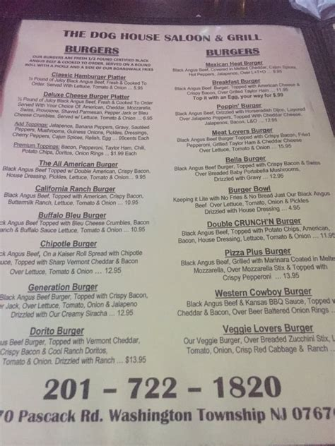 dog house saloon menu yelp