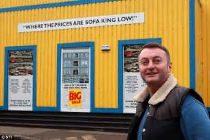 sofa king store northton sofa king manager retrieves sofas from back of