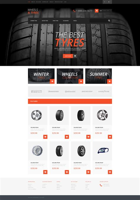 will template wheels tires responsive opencart template 50759