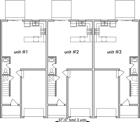 Triplex House Plans Best Selling 3 Bedroom 2 5 Baths 1 Car Small Triplex House Plans
