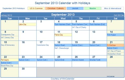 Calendar September 2013 2013 Calendar With Us Holidays Printable Brown Hairs