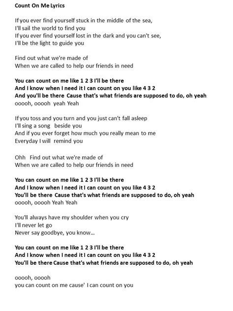 Printable Lyrics Count On Me Bruno Mars | count on me lyrics songs i love pinterest count and