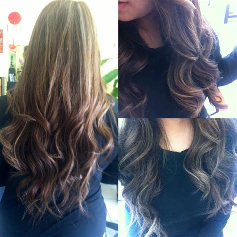 dirty blonde hair with black highlights went from dark brown to having dirty blonde color done by