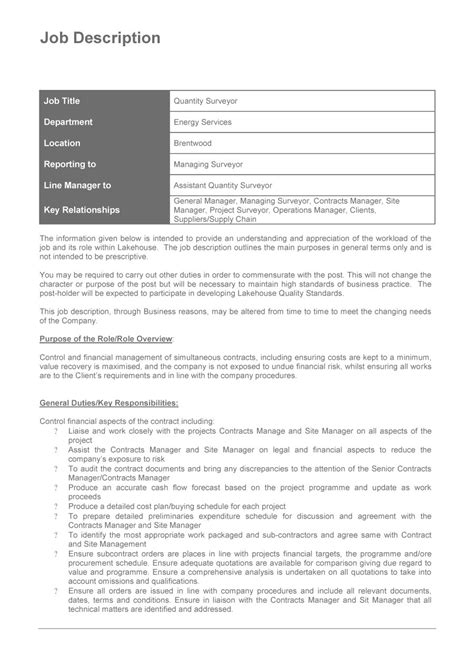 49 Free Job Description Templates Exles Free Template Downloads Description Template
