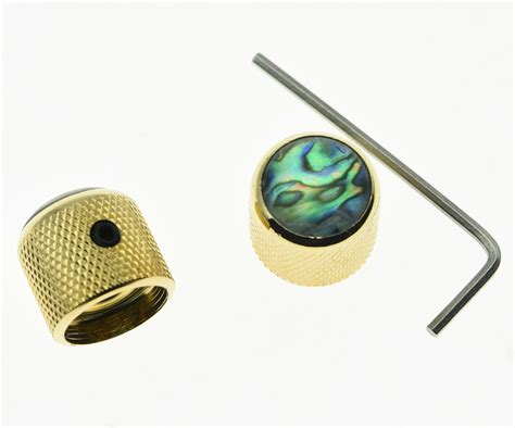 2x set abalone top gold guitar dome knobs for tele