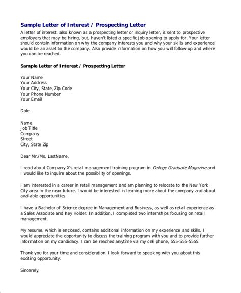 employment letter of interest sle letters