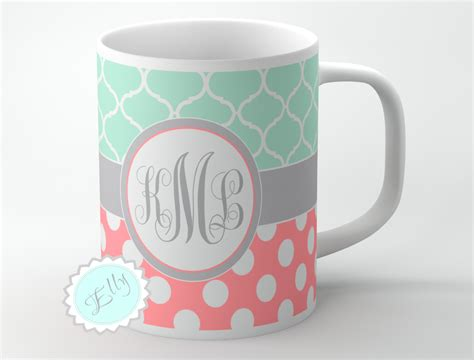 cute mugs cute mint clovers and coral polka dots personalized coffee mug