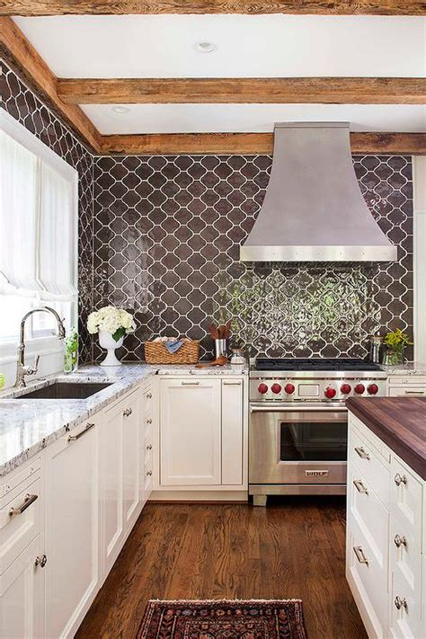 Moroccan Tile Kitchen Backsplash Grey Kitchen Cabinets With Brown Countertops Quicua