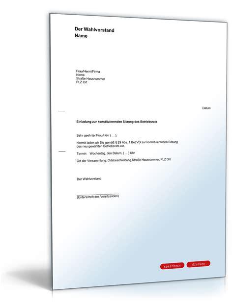 Musterbrief Vorlage Einladung Einladung Zur Konstituierenden Sitzung Des Betriebsrats
