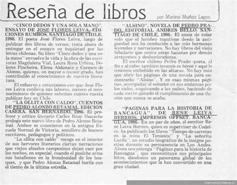 imagenes de reseñas literarias rese 241 a de libros memoria chilena biblioteca nacional de